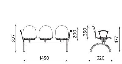 Wymiary ławki AMIGO 3 osobowa
