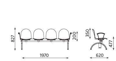 Wymiary ławki AMIGO 4 osobowa