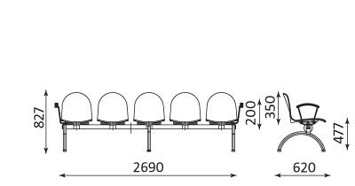Wymiary ławki AMIGO 5 osobowa