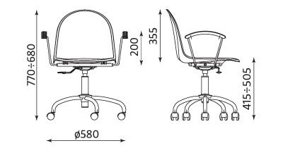 Wymiary krzesła AMIGO GTP
