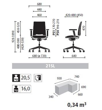 Arca krzesło obrotowe wymiary