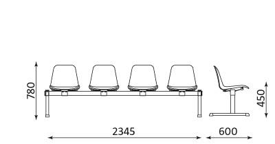 Wymiary ławki Beta 4 osobowa