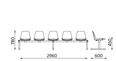 Wymiary ławki Beta 5 osobowa