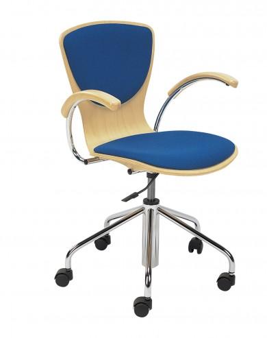 Krzesło obrotowe sklejkowe z nakładką tkaninową Bingo wood plus GTP chrom