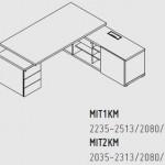 Biurka z komodą, konteerem i mediaportem Mito