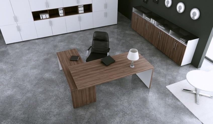 Biurko gabinetowe MARO TORIS, stolik MARO L-LINE oraz szafy aktowe