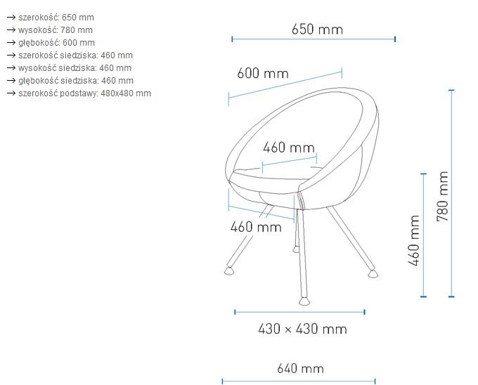 Fotel lobo na nżkach prostych wymiary