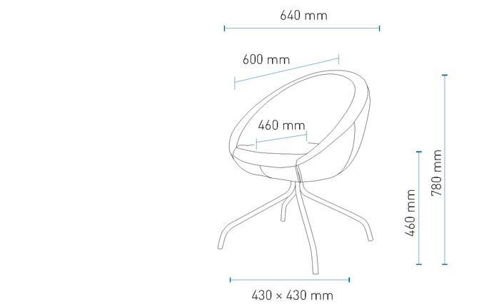 Fotel obrotowy na nóżgach giętych wymiary