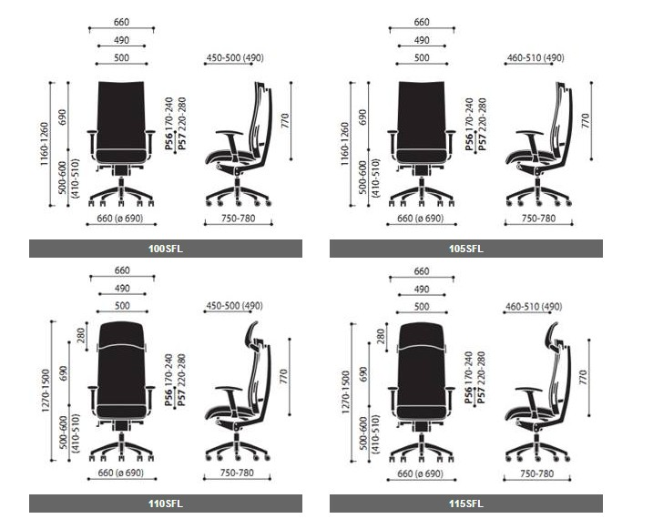 Fotele gabinetowe Acytion wymiary