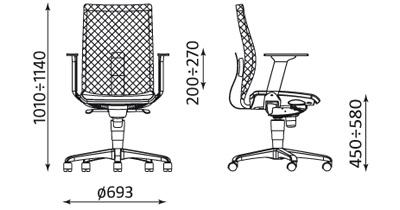 Wymiary krzesła INTRATA