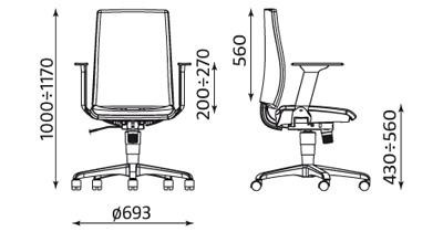 Wymiary krzesła Intrata operative O 12