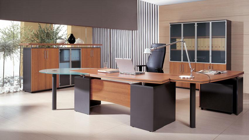 Biurko gabinetowe MARO KONSUL, witryny gabinetowe przystawka szklana