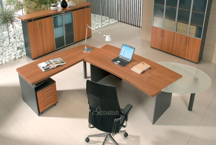 Biurko gabinetowe MARO KONSUL, witryny gabinetowe przystawka boczna kontener