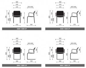 Krzesła konferencyjne Bit wymiary (1)