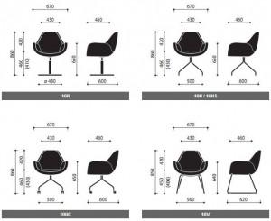 Krzesła konferencyjne Fan wymiary (1)