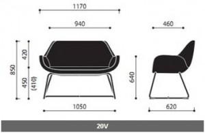 Krzesła konferencyjne Fan wymiary (2)