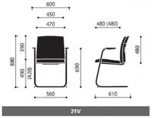 Krzesła konferencyjne One wymiary (2)