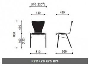 Krzesła sklejkowe Ligo wymiary (2)