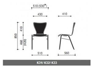 Krzesła sklejkowe Ligo wymiary (3)