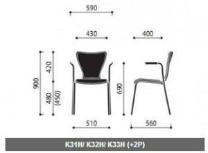 Krzesło konferencyjne sklejkowe Resso wymiary (3)