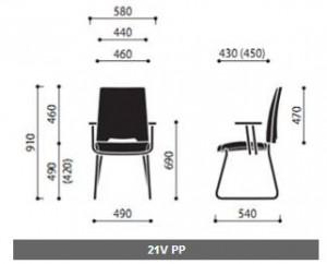 Krzeslo konferencyjne Arca 21V PP wymiary