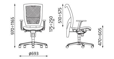 Wymiary krzesła Officer Net
