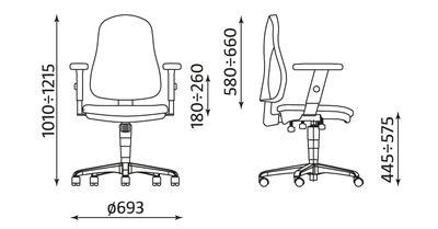 Wymiary krzesła Offix
