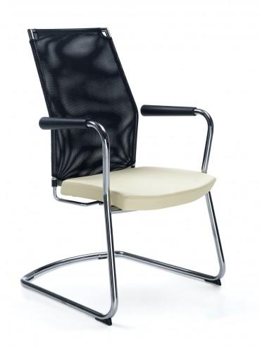 Krzesło konferencyjne z oparciem siatkowym PERFO III 213VN CHROM PU