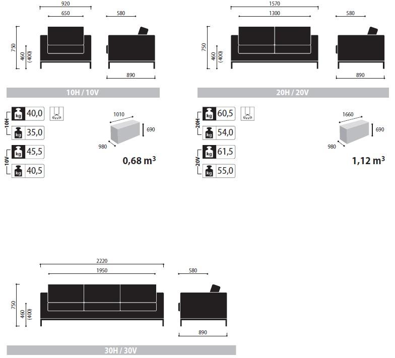 Sofy i fotele Exec wymiary