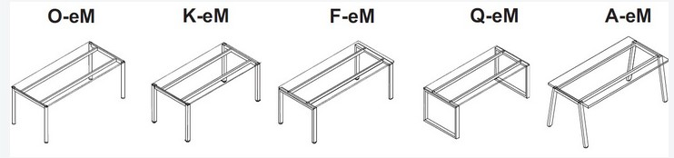 System mebli biurowych eM rodzaje podstaw