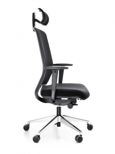 Krzesło biurowe z oparciem siatkowym Veris NET 111SFL chrom P48PU