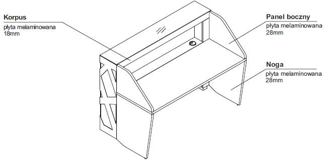 Zig-Zag lady recepcyjne rysunek techniczny (2)