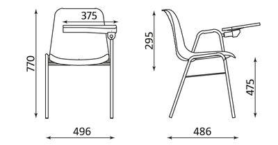 Wymiary krzesła BETA T L