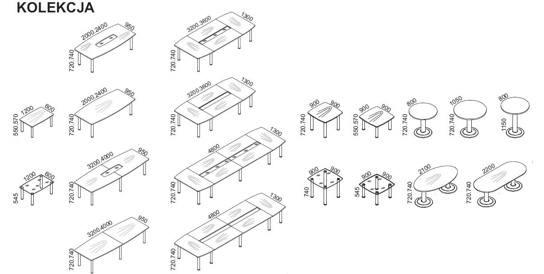 Dostępna kolekcja stołów konferencyjnych Maro