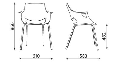 Wymiary krzesła Fano