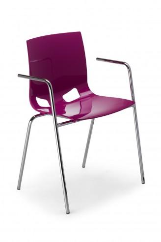 Krzesło Fondo arm chrome gloss fioletowe