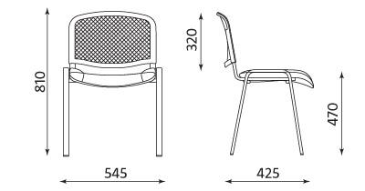 Wymiary krzesła Iso Ergo Mesh