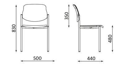 Wymiary krzesła STYL alu