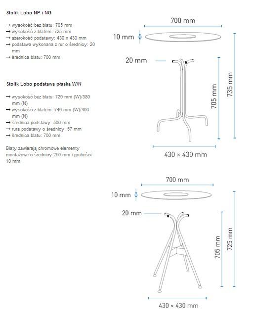 Wymiary  stolików Lobo