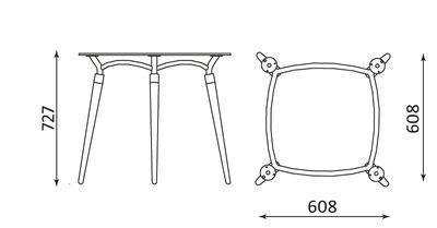 Algeo Table chrome 800X800 Wymiary podstaw