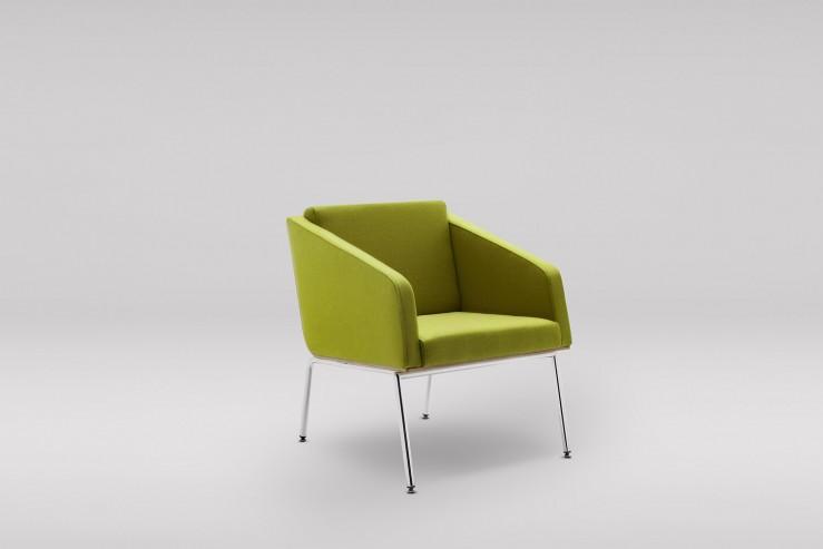Fotel FIN z podłokietnikami podstawa metalowa