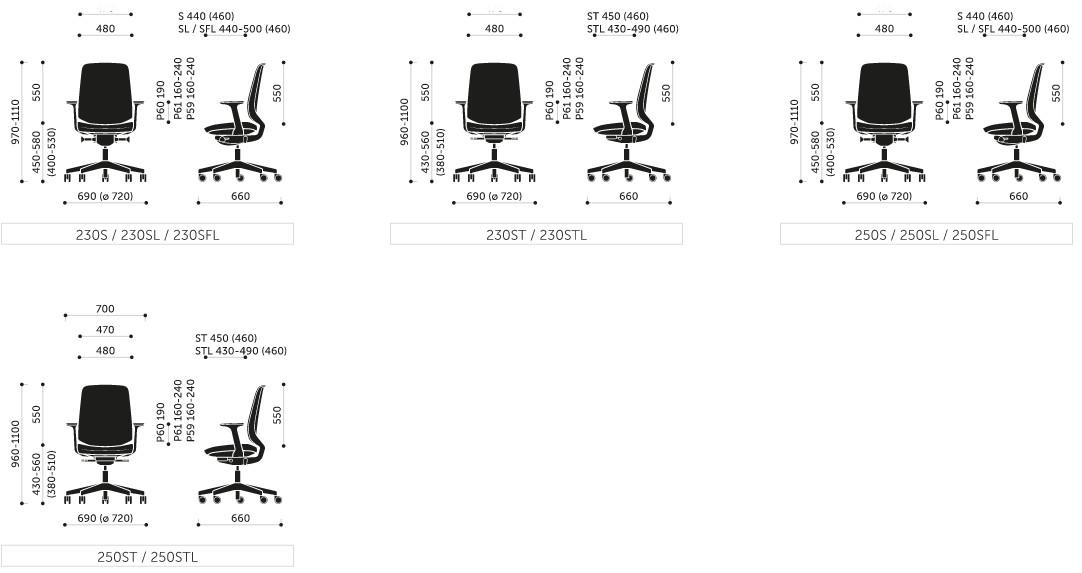 Wymiary krzesła LIGHT UP